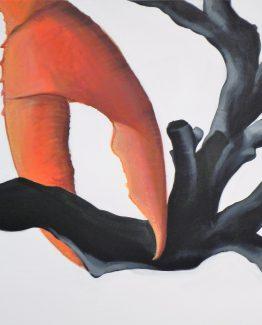 Quadro chela di granchio con corallo nero