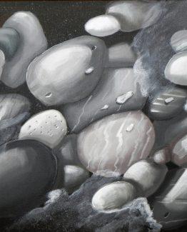 Quadro di sassi toni grigi su fondo nero