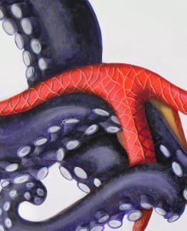Quadro acrilico di stella marina su tentacolo di polipo