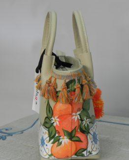 Borsa Tjndara tortora decoro ceramica e arance
