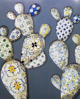 Quadro acrilico pale ceramica fondo azzurro