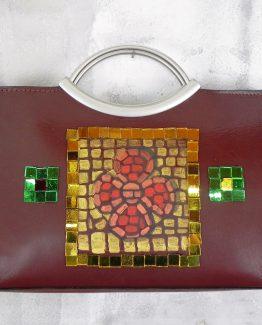 Borsa Tjndara marrone mosaico quadrato e fiore