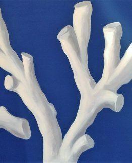 Quadro corallo bianco su fondo azzurro
