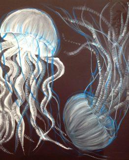 Quadro acrilico di meduse azzurre su fondo blu
