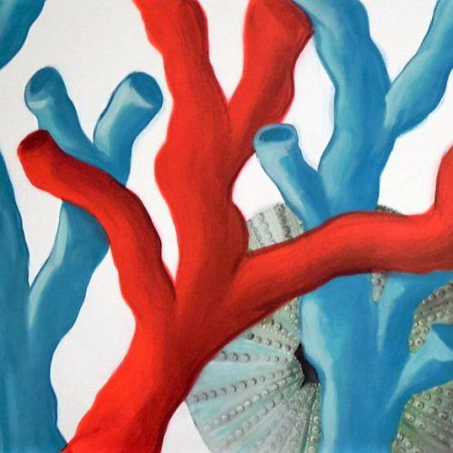 Quadro acrilico di coralli e riccio