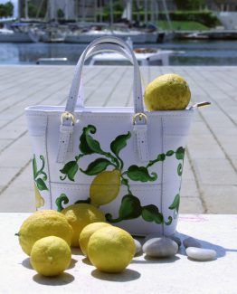 Borsa Tjndara pelle bianca decoro limoni