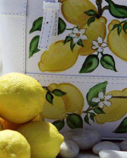 Borsa Tjndara pelle binca decoro limoni e zagara