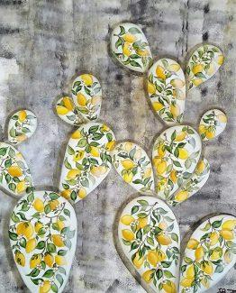 Quadro acrilico pale decoro limoni