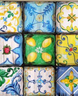 Quadro acrilico patchwork ceramiche collezione sicily