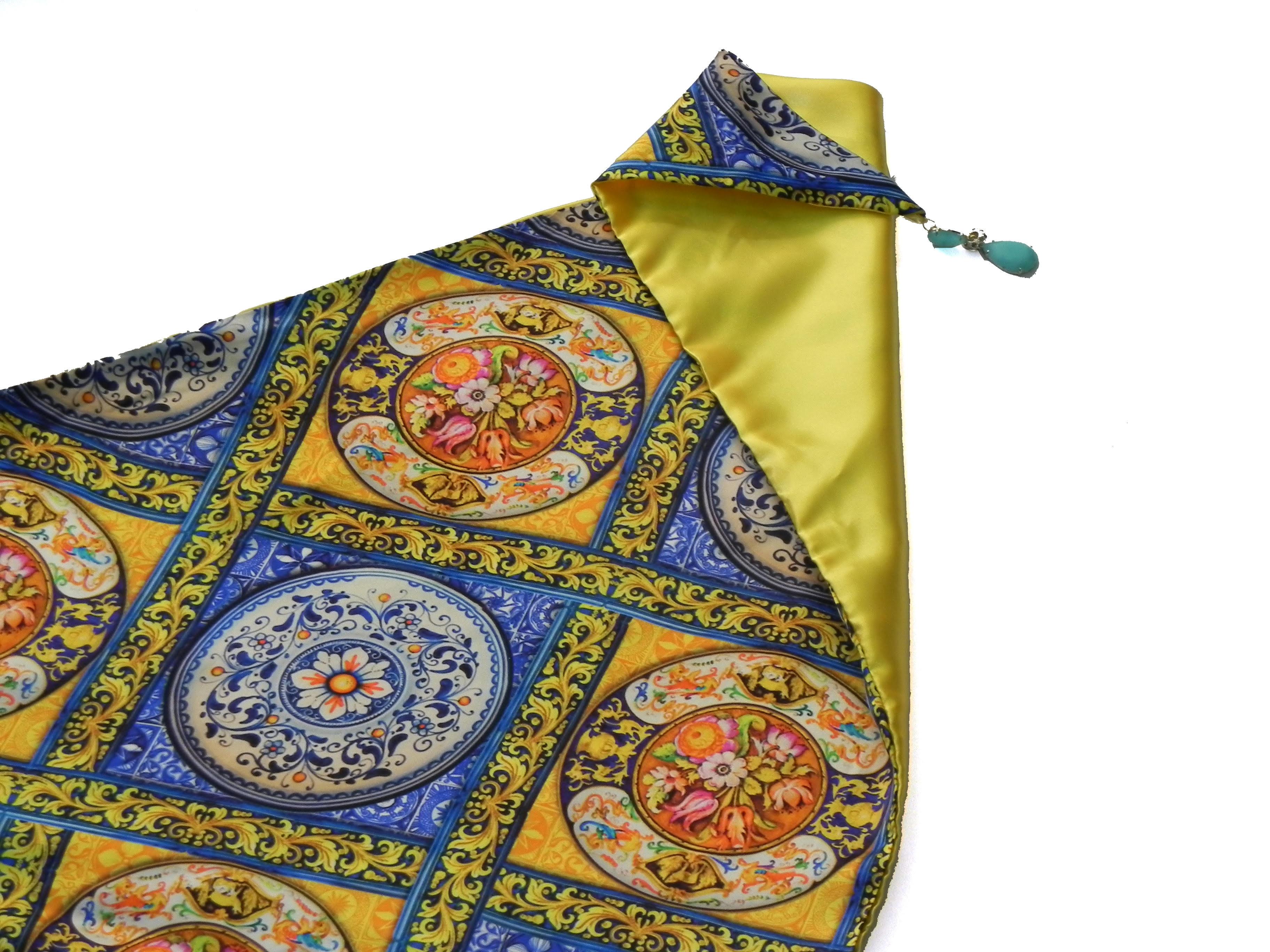 seleziona per autentico Raccogliere design senza tempo Scialle Tjndara seta maiolica siciliana - Bottega Farnese