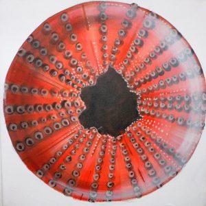 Quadro acrilico guscio di riccio arancione